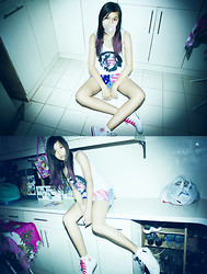 Danielle Zapanta - Artwork Madonna Tee, D.I.Y American Flag Shorts, Converse Limited Edition I Love - Little Bad Girl