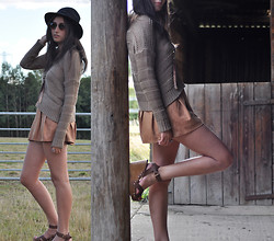 Laura E - Miss Selfridge Suede Shorts, Vintage Hat, New Look Wedges, New Look Sweater - Eye to eye we need no words at all