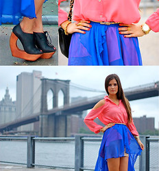 Paola Alberdi - Michael Kors Gold Watch, Brandy&Melville Neon Blue Skirt, Urban Outfitters Gold Belt, Foreign Exchange Coral Cutout Shirt, Jeffrey Campbell Jc Rockin, Yves Saint Laurent Ysl Oval Arty Ring, Skull Bracelet - See you on the other side.
