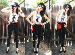 R I C H  W H I T E T R A S H - Grandma's Old Bangles, Urban Outfitters Sunglasses, Party In The Valley Free Winona Wife Beater, Thrifted Red Belt, Urban Outfitters Black Hat, Calvin Klein Vintage Jeans, Thrifted Vintage Red Purse, Forever 21 Black Pumps - Free Winona!
