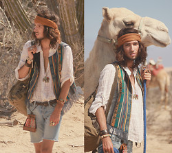 Bobby Raffin - Buffalo Exchange Patterned Vest, Elephant Necklace, Mexico Leather Braided Belt, Serpent & Eagle Ring, H&M Leather Bracelet, Traveler's Backpack, Bracelet Set, Thrifted Authentic Patterned Pouch, Camel Headscarf, Skull Bracelet - Off the map