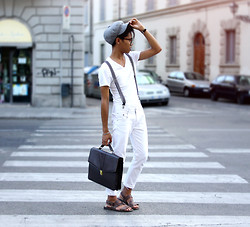 Jerome Centeno - H&M Tweed Hat, H&M White Vee Neck, Zara Striped Suspenders, Piazzaitalia White Jeans, Sm Megamall Manila Briefcase, Vintage Sandals - White Lines