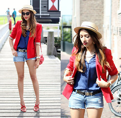 Virgit Canaz - New Look Hat, H&M Necklace, Zara Red Blazer, Moschino Belt - Moschino Chic and Cheap