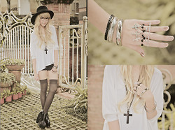 Tricia Gosingtian - Top, Forever 21 Necklace, Ring, Ring, Shoes, Forever 21 Hat - 082911