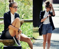Kasia Szymków - Shorts, Converse, Stradivarius Blazer, Stradivarius Shirt, Versace Glasses - Back to school? not me!:)