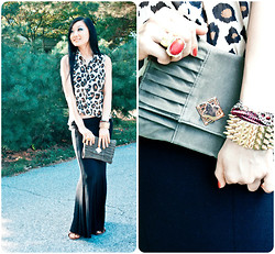Yitong Wang - Forever 21 Top, Maxi Skirt, Clutch - Leopard baby.