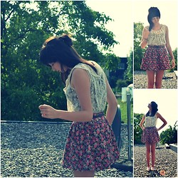 Jana G - Forever 21 Floral Skirt, Forever 21 Lace Top - I think I made you up inside my head.