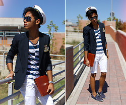 Jerome Centeno - H&M Boat Shoes, From Croatia Sailor Hat, Unknown Cyber Glasses, Vintage Navy Striped Blazer, H&M Striped Nautical Tee, Sisley White Shorts - Sailor Academy