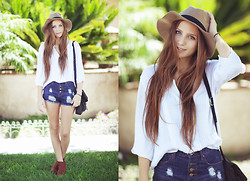 Bethany Struble - Vintage Silk Blouse, High Waisted Shorts, Bracelet, Fedora Hat, H&M Booties - Its You