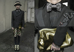 Andre Judd - Kenneth Chua Double Breasted Pinstriped Suit With Snake Embroidery, Boss Metallic Embossed Shrunken Clutch, Vintage Indian Embroidered And Sequined Tunic, Gold Dust Leather Flatforms, Studded Bowtie, Gold Embellished Cap - THE ARTFUL DODGER