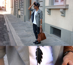 Jerome Centeno - Zara Trilby Hat, Vintage Grey Blazer, Tee By Giordano Vee Neck, H&M Skinny Jeans, H&M Eco Leather Bag, Zara Shoes, Diy Leather Feather Necklace - This ain't lust, I know this is love
