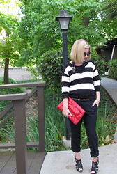 Katie Lee - Old Navy Sweater, Elizabeth And James Trousers, Christian Dior Shoes - What is Black, White, & Red all over?