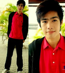 Michael John Alvarez - Black Jacket, York Knight Pink Polo Shirt, Wade Gray Sneakers - *Don't forget who you are today :))