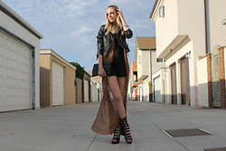 Amber Saylor - H&M Leather Jacket, Forever 21 Crochet Vest, Zara Mini, Jeffrey Campbell Potion Buckle Wedge, Deena & Ozzy Bird Skull Clutch - The Big 21 Today.