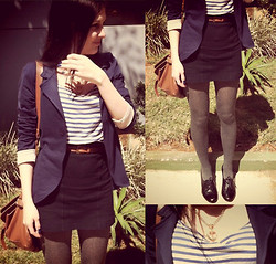 Isabela Machado - Dzarm Sailor Dress, Virgin Again Anchor Necklace, Second Hand Blazer - HELLO SAILOR!