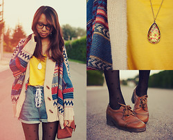 Jae D - Glasses, Bat Wing Sleeve Oversized Cardigan, Yellow Basic Large Round Neck T Shirt, Drop Shaped Floral Necklace, High Waist Street Style Denim Shorts, Thrifted! Vintage Shoes - - i should have loved less from the beginning.