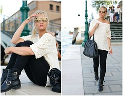 Veronica Ferraro - Queen's Wardrobe Sequined T Shirt, Jimmy Choo Biker Boots - In Venice everyday life's a work of art