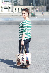 Mishka O. - Zara T Shirt, Moschino Handbag - Striped...