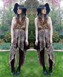 Arabella G - Snakeskin Bag, H&M Floppy Hat, Topshop Double Cross Necklace, Urban Outfitters Large Cross Necklace, Love Snakeskin Dress, Topshop Chelsea Boots - Python