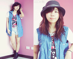 Joyce Cai - Topshop Oversized Denim Vest, Bf's Black Sabbath Tshirt, People Are Light Denim Shorts, Forever 21 Leather Booties, Sm Department Store Grey Hat - The transformation