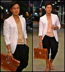 Kutik T - Anthony Nocom White Linen Blazer, My Dad's V Neck Tee, Heist Jodphur Pants, Feud Gladiator, Fino Leather Satchel - Anything I'm not