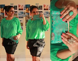 Medusa C - Vera Moda Sheer Blouse, Forever New Tulip Skirt, Vintage Clutch - A Lady Should Always Giggle