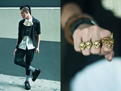 Paul Jatayna - Dragon Ring, Oxygen Collared Cropped Top, Oxygen Collared Top Shirt, Proud Race Leather Shorts, Underground Creepers, Os Bone Gang Necklace, Unisex Tri Skull Ring - SCHOOLⒷⓄⓎ