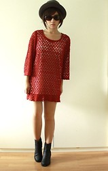 ALI B. - Forever 21 Red Crochet Tunic, H&M Black Boots - Rosé