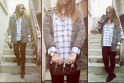 Nanah Greco - Plaid Shirt, Grey Coat, Black Millitary Boots - Use Somebody