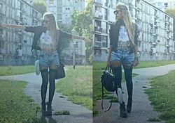 Isabella Rakonić - Diy Shirt, Patrizia Pepe Leather Jacket, Levi's® Shorts, Jeffrey Campbell Shoes, Miu Bag - † BE A REBEL †