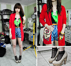 Bea Benedicto - Os Accessories Cluster Of Bones, Divisoria Neon Green Feather Necklace, Thrifted Big Red Sweater, Syrup Nude Heels, Bangkok Mesh Socks, Thrifted Bleached High Waisted Shorts - Lazy Bones
