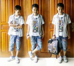 Aul Howler - Cocky Modified Old Jeans, Bottom Side Of Closet Old Shirt, Ge'er Bandung Comiks Shirt, Brother's Schoolbag, Three In One Bracelets - Some old stuffs in the bottom side of closet