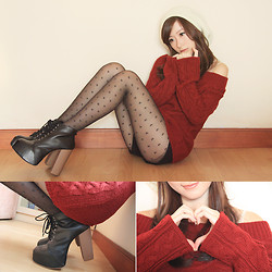 Elle Yamada - Zara Red Sweater, Gowigasa Heart Stocking, June + Julia Boots - The one with the Red Sweater