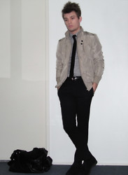 James McMaster - Blaq Premium Bomber Jacket, Asos Button Down Shirt, Skinny Tie, Asos Slim Fit Formal Trousers, Suede Desert Boots, Ebay Leather Look Holdall - Potentialities