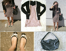 Drew . - Coincidence And Chance Dress, H&M Cardigan, Restricted Ballet Flats, Deux Lux Black Bag - Home is when i'm alone with you.