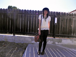 Renee Schmee - Forever 21 Frilly Colonial Shirt, Old Navy Black Shorts, Steve Madden Brown Oxfords, Catworld Versatile Brown Bag, H&M Bowler Hat, Aldo Black Tights - I Have A Thing For Colonial Dudes