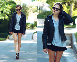 Bethany Struble - Tinley Road Leather Jacket, Loose Tee, Lace Shorts, Steve Madden Zipper Wedges, Sunglasses - Collide