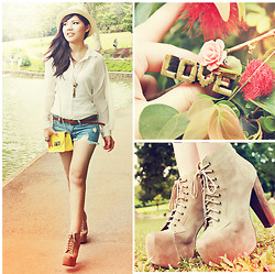 "Liana Wibowo - Femmex Shorts Jeans, Femmex Chain Yellow Bag, Jeffrey Campbell Lita In Taupe Suede - ""Just the way you are.."""