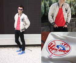 Hugo W - Cotton On Risky Business Sunglasses, Thrift Store New York Yankees Baseball Jacket, Cotton On Plain Tee, Jeanswest Skinny Jeans, Asos Hi Top Sneakers - New York Yankees