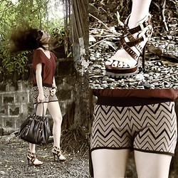 Bea Sy - Pedro Cutout Platforms, Forever 21 Tribal Print Shorts - I whip my hair back and forth