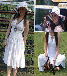 Ay Lin - Thrifted White Dress, Forever 21 Flower Necklace, Greenhills Brown Stripe Straw Hat - Calm, Light and Fresh
