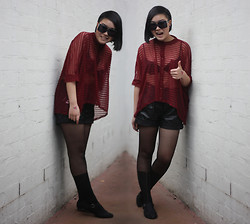 Ivy Robinson - I.D.S Sheer Top, I.D.S Faux Leather Shorts, Karen Walker Sunglasses, Romwe Tights, Deena & Ozzy Sandals - Cold