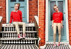 Ava S - 2hand Shirt, 2hand Red Cardigan (Worn Backwards), American Apparel Riding Pant, Converse Red - Red Brick and a Blue Door