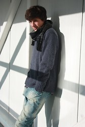 David Smale - Dads Wardrobe Vintage Scaf, Fashion Union Shawl Neck Jumper, Asos Slim Fit Jeans - Winter Warmers