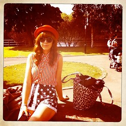 Amanda Blackwood - Vintage Red Bowler Hat, Urban Outfitters Elton Circle Shades, Topshop Striped Sleeveless Shirt, Religion Stars + Stripes Shorts - Our Adventure to Wickerman with Canned Heat