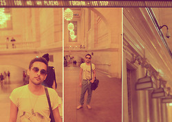 Nikhil Sharma - Muji Flip Flops, Dover Street Market Bag, Urban Outfitters Teeshirt, All Saints Shades - NYC/grand central station/