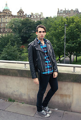 Marco M. - Black Leather Biker Jacket, Gap Studded Black Converse, Cheap Monday Black Very Stretch Skinny Jeans, Carhartt Check Flannel Shirt - Edinburgh made me go Tartan!