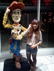 Linda Collazo - Cross Necklace, Lace Tights, Studded Beareau, Fringe Boots - Oh your such a lego, Woody!