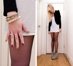 Ingrid O - Topshop Grey Wedges, H&M Black Jacket, H&M Boyfriends Vest, Accessorize Gold & Pearl Bracelets, Incoco Nailpolish - Baby she's a wild thing..