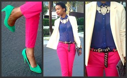 Eny K - Zara Shoes, American Apparel Blazer, American Apparel Blouse, Betsey Johnson Accessories, Zara Pants - Color Splash